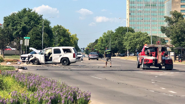 Topeka officer involved in 2-vehicle crash, sending 3 to the hospital