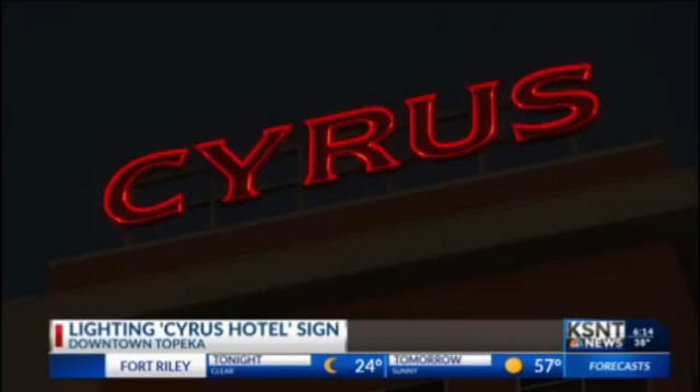 CYRUS: The bright red letters now lighting the Topeka skyline