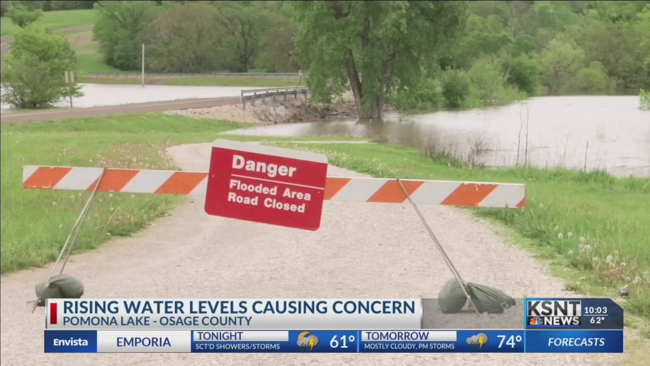 Water Levels At Pomona Lake Continue To Rise, Causing Road