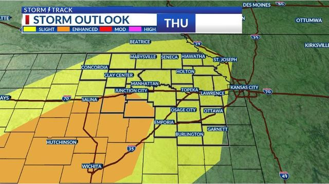 Strong to severe storms may produce heavy rain, large hail and damaging wind