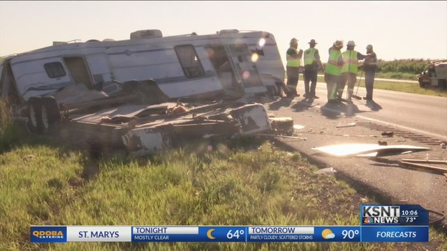 I-70 East cleared up after camper and semi crash